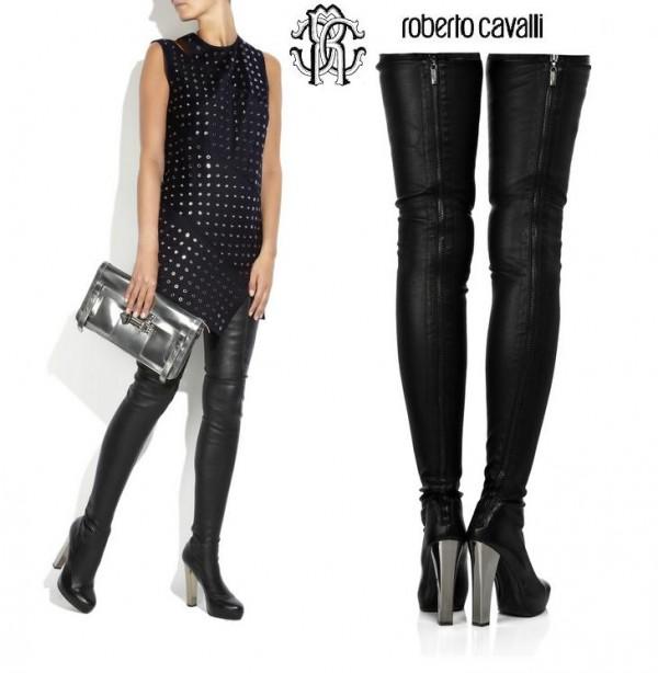 roberto cavalli leather thigh high boots